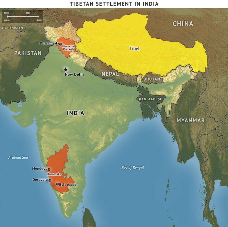 Khu vực định cư của người Tây Tạng tại Ấn Độ. Nguồn: Stratfor
