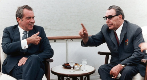 Description=Richard Nixon and Leonid Ilyich Brezhnev on board the . June 19, 1973